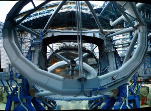 One of the 8m telescope (UT4/Yepun?), its primary mirror and the structure of the telescope (credit Herve Bouy)