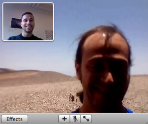 My colleague Herve Bouy and myself talking by video chat before our observing run