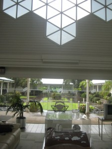 The lobby of the Keck Observatory HQ at Waimea. Notice the hexagonal shape of the windows :-)