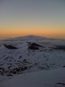 Shadow on Mauna Kea on the top of the Earth atmosphere