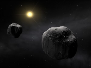 his image shows an artist's impression of the double asteroid, Antiope. Both components are shown to have a quasi-spherical shape. ESO