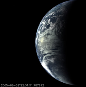 The Mercury-bound MESSENGER spacecraft captured several stunning images of Earth during a gravity assist swingby of its home planet on Aug. 2, 2005. Several hundred images, taken with the wide-angle camera in MESSENGER's Mercury Dual Imaging System (MDIS), were sequenced into a movie documenting the view from MESSENGER as it departed Earth.(credit images to NASA/Johns Hopkins University Applied Physics Laboratory/Carnegie Institution of Washington)