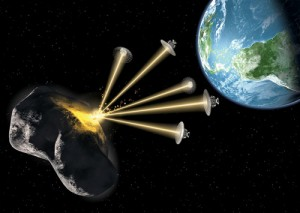 The concept of solar sublimation using an array of spacecraft which vaporizes the surface of an asteroid, deflecting its orbit (because of the action-reaction forces)