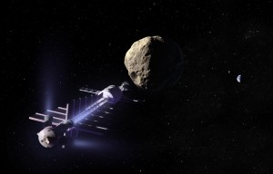 "In this artist's conception, a ""gravity tractor"" positions itself near an asteroid to pull it away from a collision course with Earth (seen in the background). (credit: B612 Foundation)"