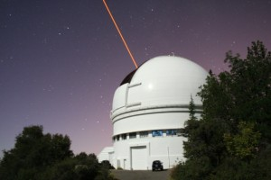 Dome of the Shane 3m telescope and the Laser Guide Star (Credit: F. Marchis)