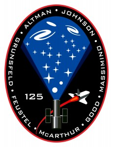 The Logo of the STS-125 mission which clearly shows that the goal of the mission is to service the Hubble SPace Telescope
