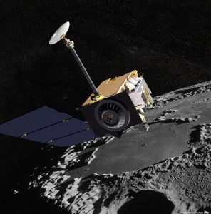 Artist Concept of the Lunar Reconnaissance Orbiter with Apollo mission imagery in the background. The spacecraft will rach the moon on Tuesday at 5:43am EDT  (Credit: NASA)
