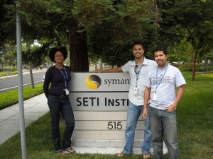 The SETI group in front of the main entrance from left to right: Abigail Reiss, Franck Marchis and Emilio Enriquez