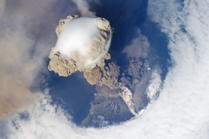 striking view of Sarychev Volcano (Kuril Islands, northeast of Japan) in an early stage of eruption on June 12, 2009. Click on the image to start an animation (credit NASA)