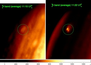 Comparison between H and K band observations. The bright feature is marginally detected in H band but has the same shape