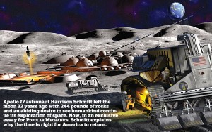 Artistic view of future miner base on the moon (Popular Mechanics Oct 2004). Robotic equipment would scrape and refine lunar soil. Helium-3 would be sent to Earth aboard a future space shuttle or perhaps be shot from an electric rail gun.