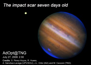 False color image of Jupiter and its scar taken with the TNG on July 27 UT. The image is the composite of 1.60 um, 1.68 um and 2.12 um (blue) narrow band filter images. The seeing was mediocre at the time of the observation.