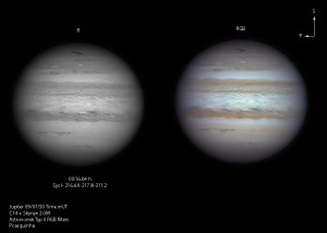 Observation of Jupiter collected on July 30 by P. Casquinha in visible. The shape of the impact feature changed in 11 days due to high altitude wind shear.