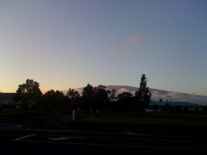 The Mauna Kea summit as seen from the Keck HQ. You can distinguish the telescope domes on the top (you need to zoom in)