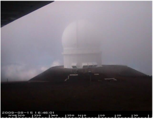 Capture picture of one of the webcam located at the summit. The summit is in the fog... :(