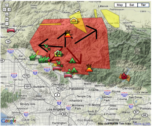 "Captured screen of the interactive LA Times map. The ""volcano' on the bottom-right indicates the position of the Mount Wilson. The fire seems to have stopped it progression toward the observatory."