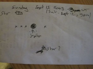 Drawing of my observation of Jupiter on Saturday Sept 12 at 9 pm (Sept. 13 at 3 UT)