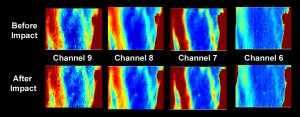 Uncalibrated Diviner thermal maps of the impact site acquired two hours before the impact, and 90 seconds after the impact. The thermal signature of the impact was clearly detected in all four Diviner thermal mapping channels. Credit NASA/GSFC/UCLA