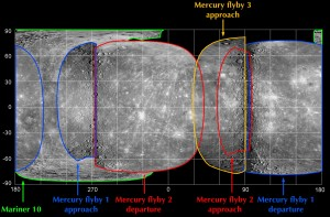 Global Composite map of Mercury based on Mariner 10 and Messenger flybys (M1, M2, M3) observations.