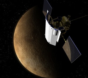 Artist drawing of the spacecraft Messenger in orbit around Mercury (credit: NASA-JHU)
