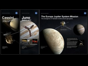 Slides from the Rayburn Exhibition showing the exploration of the Giant Planets from NASA/ESA missions