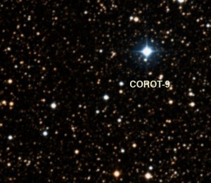 Corot-9, a faint Sun-like star, as seen in the DSS survey.