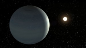 Artistic view of Corot-9b if it was a Class III exoplanet characterized by a bright blue color due to clouds of water