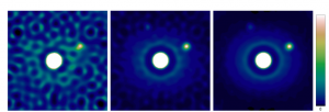 Simulated observation of a planetary system with FIRST on an 8m-class telescope at 630 nm (10,000 x 4ms exposures). The target star with V=10,5,0 (left to right) is surrounded by a face-on disk and two companions that 1,000 and 10,000 fainter and located at 16 and 20 mas,  respectively.  Achieved dynamic ranges (rms) are respectively 1:10^4, 1:10^5 and 1:10^6. The total field-of-view is 50 mas.