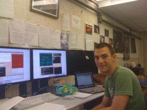 Keaton Burn, SETI-REU student in the remote control room at UC-Berkeley, shortly before the beginning of the observations.