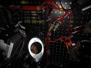 A mysterious hand seeing through the periscope mirror that we installed on the Shane adaptive optics system.