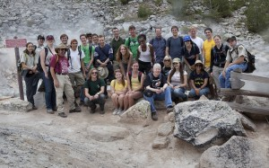 Twenty five students of the SETI Institute REU program on a field trip at Lassen Park.