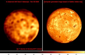 Comparison between Keck II AO observations and computer generated image based on Galileo visible map for Nov 30