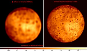 Comparison between our Keck II observation (left) and a generated image based on combining visible observations collected by Galileo. Despite a lower spatial resolution our Nov 29 ground-based observation reveals a lot of volcanic features on the surface of Io