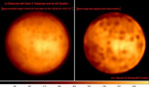 (left) basic processed image of Io recorded on Nov 29 with the Keck II AO system. (right) same image after applying AIDA deconvolution process