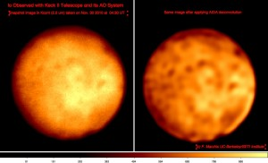 (left) basic processed image of Io recorded on Nov 30 with the Keck II AO system. (right) same image after applying AIDA deconvolution process