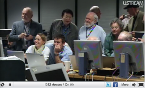 Scientists in the data processing center at JPL.