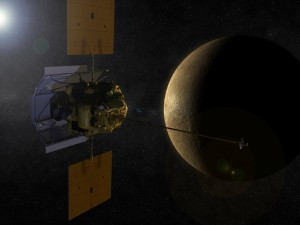 An artist's concept shows the MESSENGER spacecraft in orbit around Mercury.  (credit: NASA)