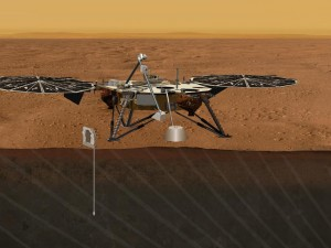 An artist's concept portrays the proposed Geophysical Monitoring Station mission for studying the deep interior of Mars (Credit: NASA/JPL-Caltech)