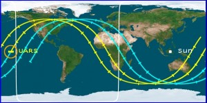 Path of the reentry as predicted by the Center for Orbtial and Rentry Debris Studies