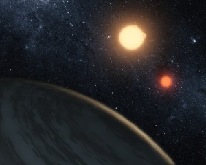 Artistic view of the Kepler-16(AB)b exoplanet (a Saturn-like exoplanet) in orbit around its 2 stars shown in the background.