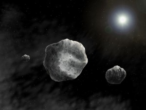 Artistic impression of (93) Minerva and its two 4km moons by Danielle Futselaar