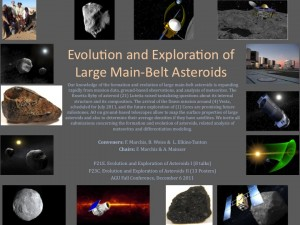 First page of the AGU Fall Session Exploration and Evolution of Asteroids illustrating the topic of discussion of the presentations.