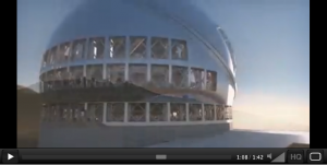 One frame of the 4D2U Project video showing the TMT on the top on Mauna KEa, Hawaii